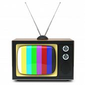 picture of televisor  - Retro TV box isolated on white background - JPG