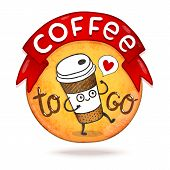 stock photo of takeaway  - Cute cartoon coffee badge - JPG