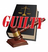 pic of proceed  - Illustration of a design representing a guilty verdict as the outcome of legal proceedings in a court of law - JPG