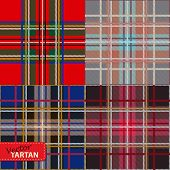 stock photo of kilt  - Set of seamless tartan pattern  - JPG