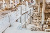 Santorini Island,crete,greece. Ruins And Archaeological Site In Fira Town