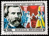 MONGOLIA - CIRCA 1981: A stamp printed in Mongolia shows Giuseppe Verdi (1813-1901) and Scene from h