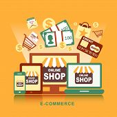 Flat Design Concept With Icons Of E-commerce Ideas Symbol And Shopping Elements
