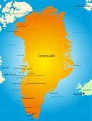 Vector detailed map of greenland map