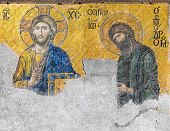 stock photo of masterpiece  - A Byzantine mosaic in the old church Hagia Sophia showing the Judgment day with Jesus Christ to the left and John the Baptist to the right from the 12th century Istanbul Turkey - JPG