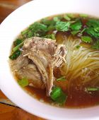stock photo of rice noodles  - Asian noodles Duck rice noodle soup and vegetables - JPG