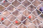 foto of chain link fence  - Seamless chain link fence with rail tracks background - JPG