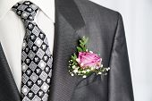stock photo of boutonniere  - Groom