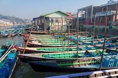 Wooden Tourist Boats On Inle Lake, Myanmar (burma)