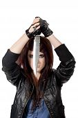 Brunette emo girl with knife