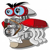 image of dragster  - Vector Engine illustration clip art  - JPG