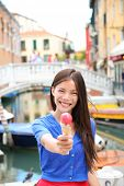 picture of gelato  - Ice cream eating woman in Venice - JPG
