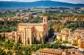 stock photo of blue-bell  - Aerial view over Siena - JPG