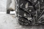 stock photo of slippery-roads  - Winter tire on snow - JPG
