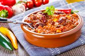 stock photo of chili peppers  - Chili con carne  - JPG