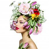 picture of makeover  - Beauty Spring Girl with Flowers Hair Style - JPG