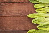 foto of romaine lettuce  - fresh green leaves of romaine lettuce  against a grunge rustic barn wood table with a copy space - JPG