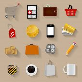stock photo of dd  - Shopping Flat Icons Set Vector Illustration - JPG