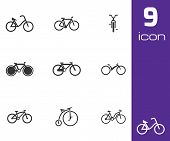 Vector black bicycle icons set