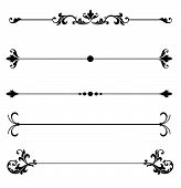 picture of scroll design  - Ornamental line rules for page division or design accents or to create elegant Victorian style calligraphy scroll work frame or border for a vintage ad or wedding announcement ornament - JPG