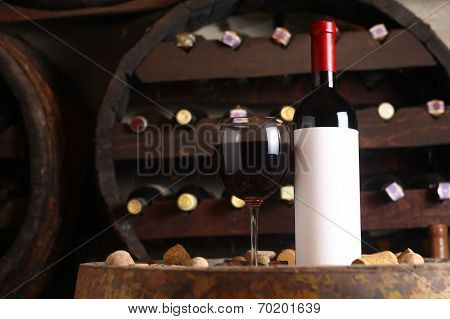 Red Wine In Wine Cellar