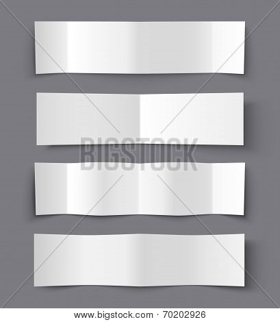 Set of Bended Paper Banners with shadows