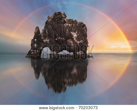 Rainbow Over Ocean Rock, Iceland