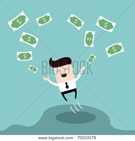 Happy Businessman Jumping Surrounded By Money Cute Cartoon Character Profit Successful Business Conc