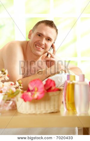 Busy Business Man In Spa Salon