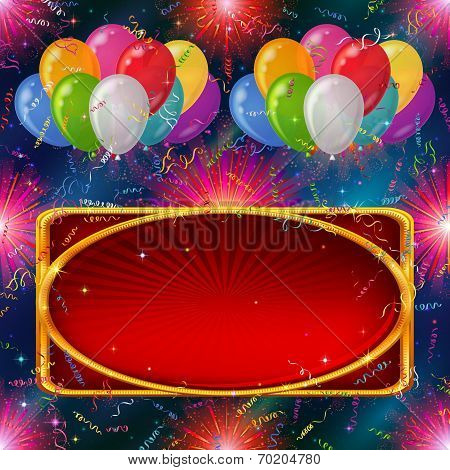 Holiday background, balloons with banner