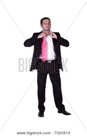 Businessman Loosens His Tie