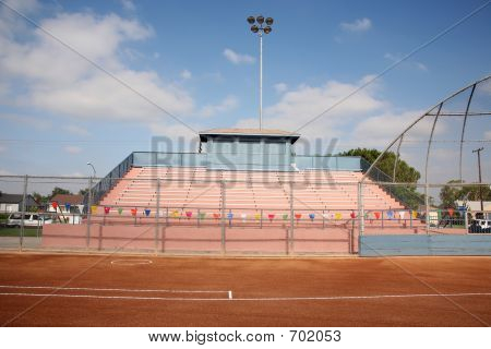 Stadium Bleachers And Backstop