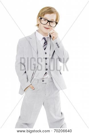 Child Boy In Glasses And Suit, Isolated Over White Background, Smart Little Kid Portrait