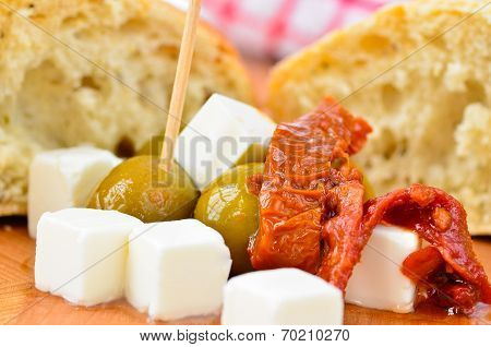Olives, feta cheese and sun dried tomatoes