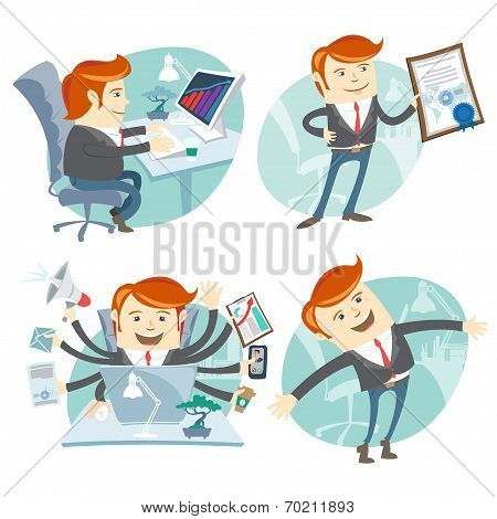 Office man hipster set: showing a diploma, Happy worker, busy wh
