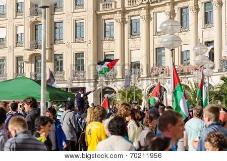 Palestinian Flags Over The German City