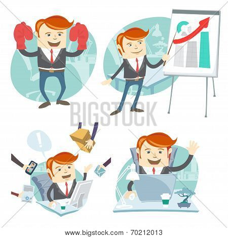 Office man hipster set: showing a presentation, Happy worker at