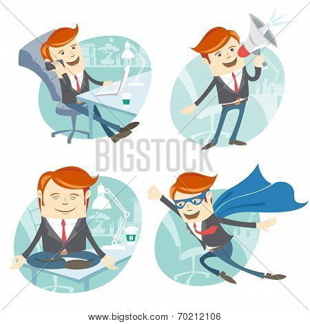 Office man hipster set: flying super man wearing blue mackintosh