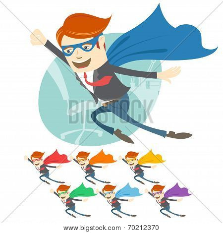 Vector Illustration of Office superman flying in front of his wo