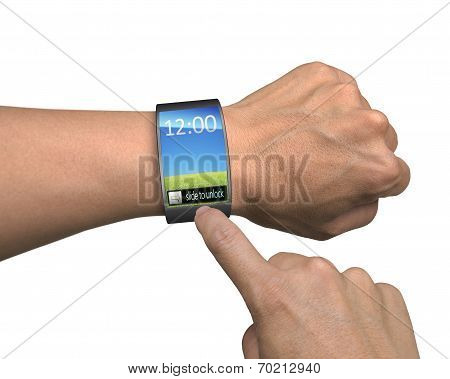 Hand With Smartwatch And Finger Touch Colorful Screen