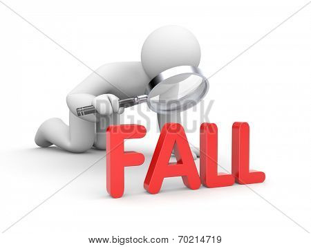 Person examines word FALL