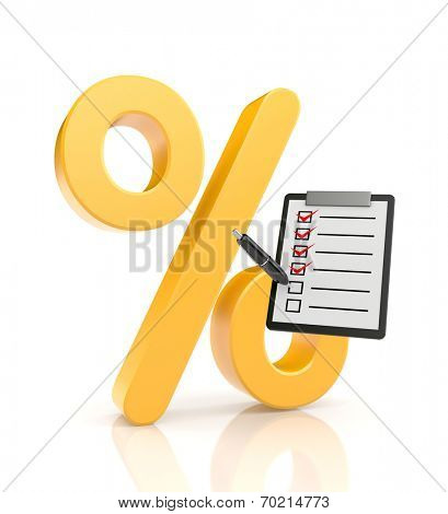 Percent symbol with clipboard
