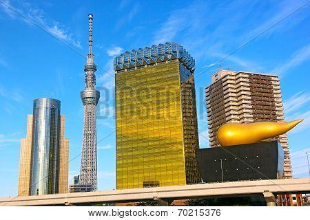 Landmark buildings line along Sumida River in Asakusa in Tokyo Japan.