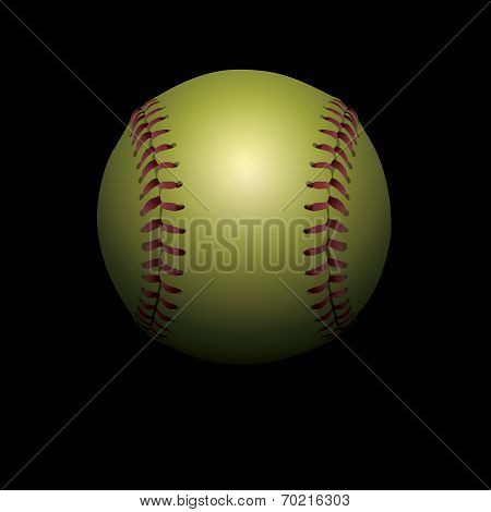 Softball On Black Shadowed Background Illustration