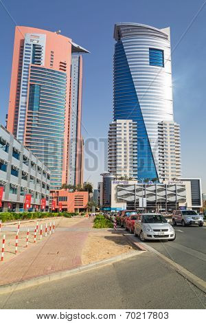 DUBAI, UAE - 2 APRIL 2014: The Grand Midwest Tower Hotel in Dubai, UAE. The Grand Midwest Group owns 4 hotels in Dubai with over 700 rooms.