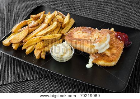 Fried Cheese With Home Made French Fries