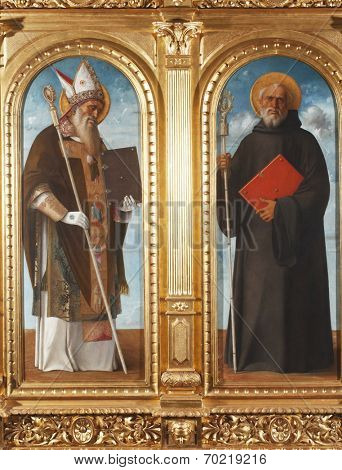 ZAGREB, CROATIA - DECEMBER 12: Giovanni Bellini: Saint Benedict and Saint Augustine, exhibited at the Great Masters renesnse in Croatia, opened December 12, 2011. in Zagreb, Croatia