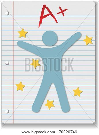 Back to School stars on ruled notebook paper supply A+ grade for student