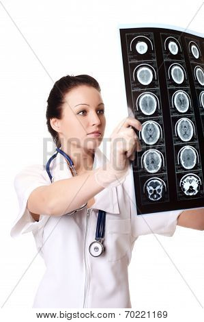 Woman Doctor With X-rays Of Brain