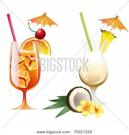 Set Of Beach Tropical Cocktails Bahama Mama And Pina Colada